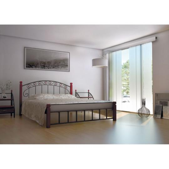 Кровать металлическая Афина на деревянных ножкахМеталлдизайн