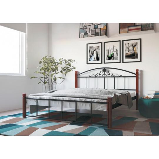 Кровать металлическая Кассандра на деревянных ножкахМеталлдизайн