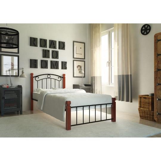 Кровать металлическая Монро с деревянными ножкамиМеталлдизайн