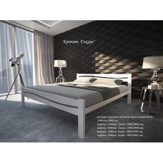 Кровать деревянная с металлическим основанием Сакура